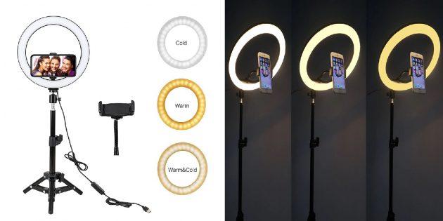 Недорогие подарки на Новый год: лампа для селфи