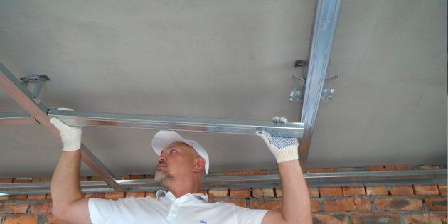 как сделать потолок из гипсокартона: установите несущие профили