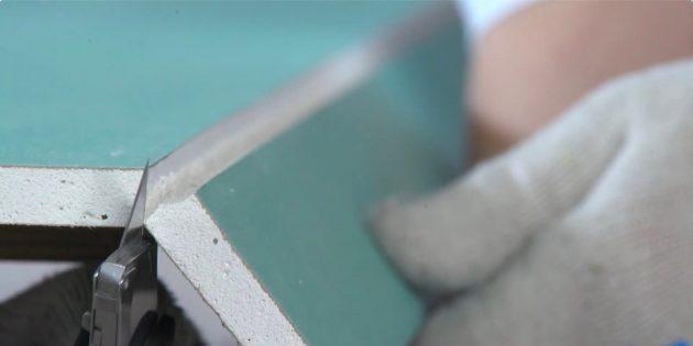 Раскроите листы гипсокартона