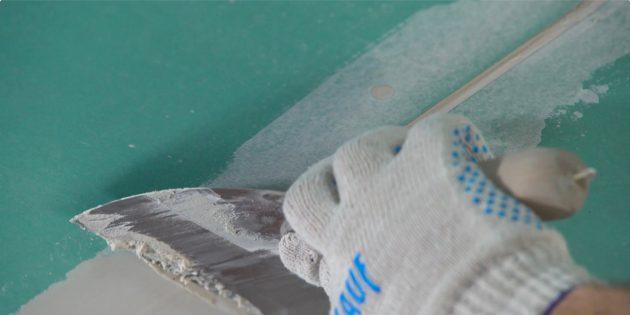 потолок из гипсокартона своими руками: заделайте стыки