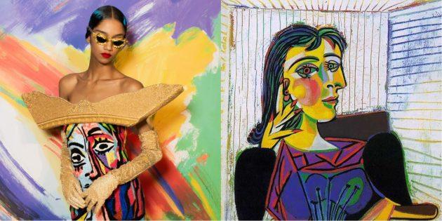 Модель Moschino и картина Пикассо «Портрет Доры Маар».