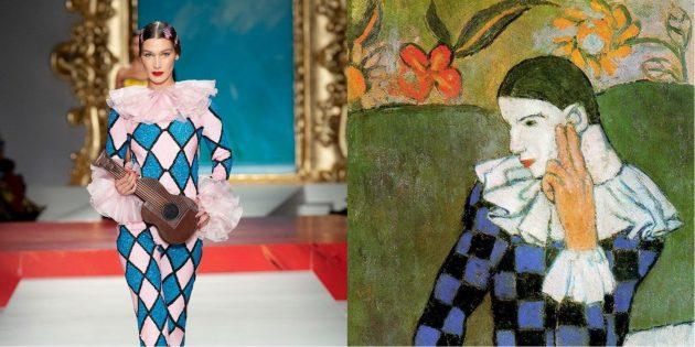 Модель Moschino и картина Пикассо «Облокотившийся Арлекин»
