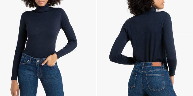Пуловер с воротником-воронкой