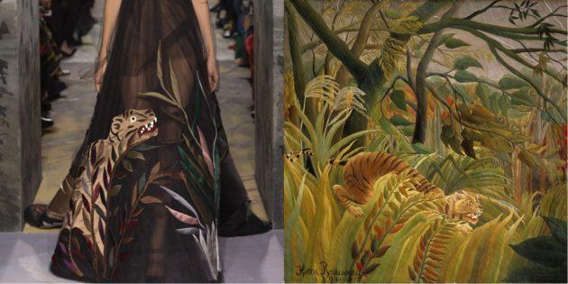 Модель Valentino и картина Анри Руссо «Тигр в тропическую бурю»