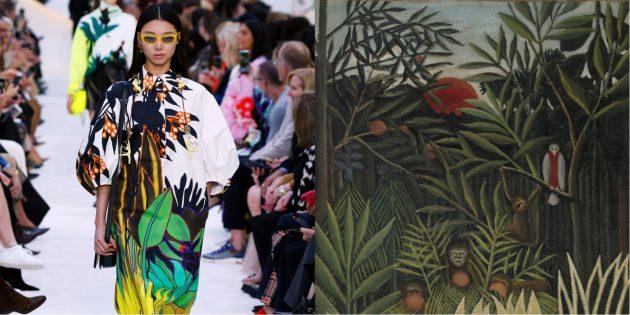 Модель Valentino и картина Анри Руссо «Обезьяны и попугай в девственном лесу»