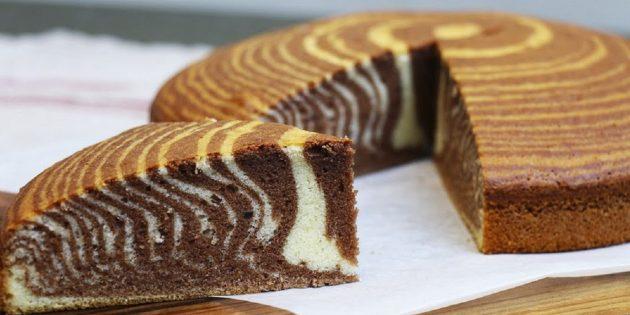 7 receptov krasivogo piroga «Zebra» na smetane, kefire, moloke i ne tol'ko