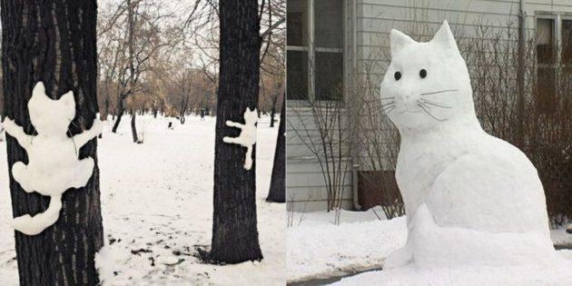 снежные фигуры: кот