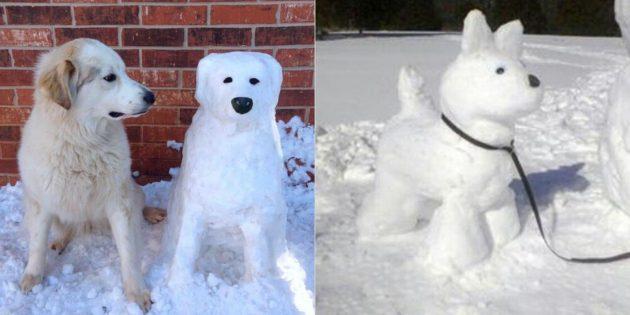 снежная фигура собаки