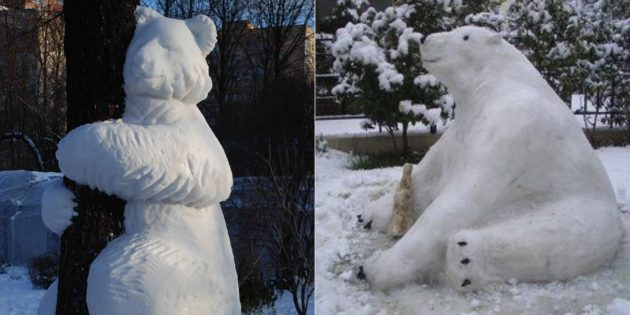 снежная фигура медведя