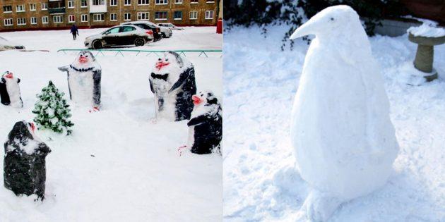 снежные фигуры: пингвин