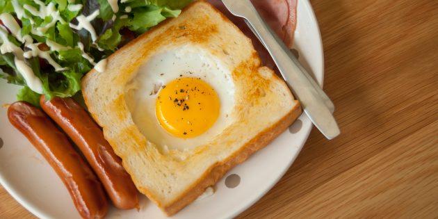 Яичница-глазунья в хлебе
