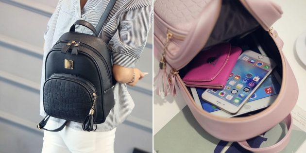 Кожаный маленький рюкзак