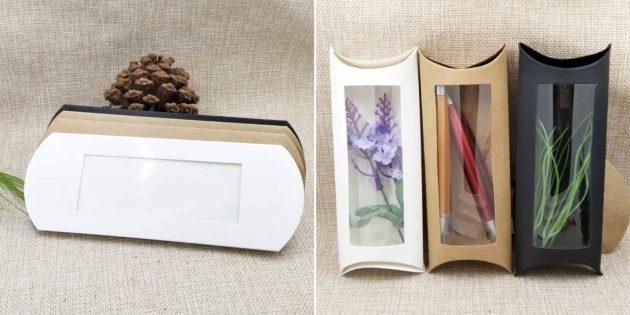 Упаковка для подарков: коробочка с прозрачной вставкой