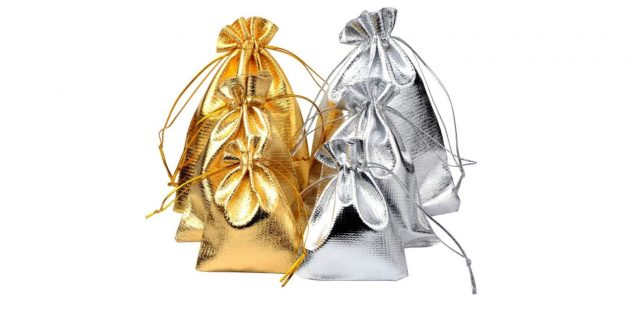 Упаковка для подарков: блестящий мешочек