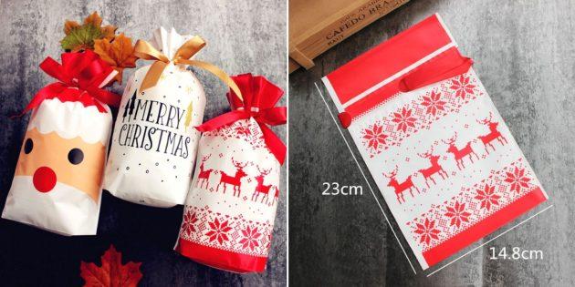 Упаковка для подарков: рождественский пакет с лентой