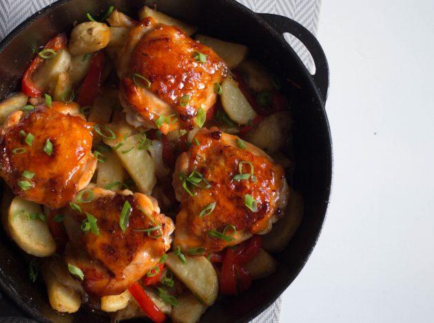 Курица с овощами в медовой глазури