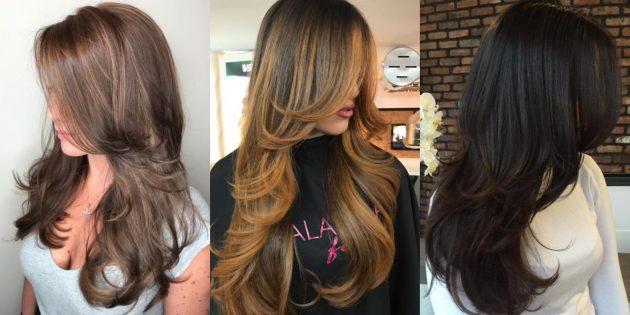 Многослойная женская стрижка на длинные волосы с косой чёлкой