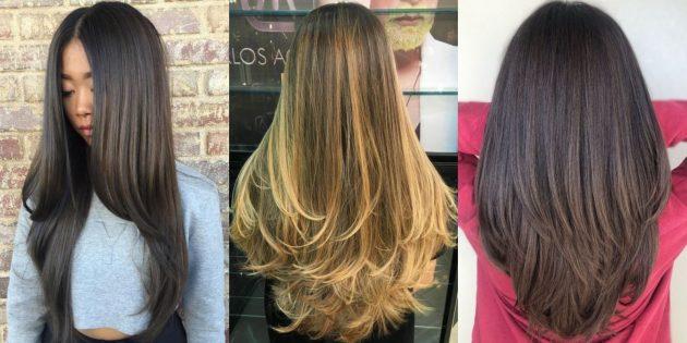 V-образная стрижка на длинные волосы — 2020