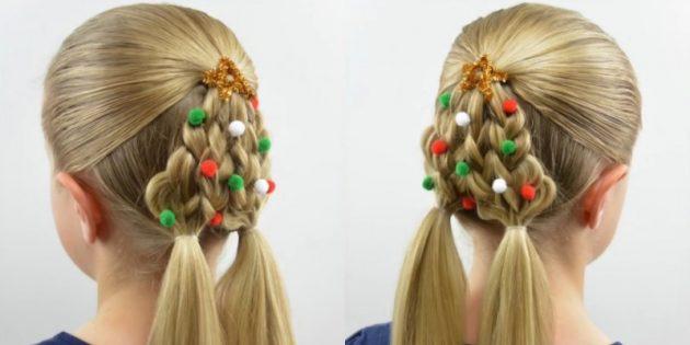 новогодние причёски для девочек: «ёлочка» из четырёх кос