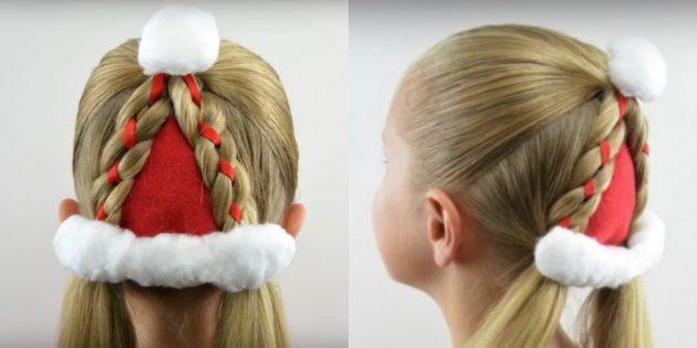 «Шапочка Деда Мороза» из кос