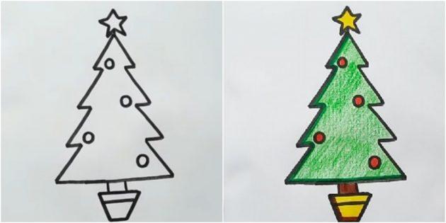 Как нарисовать угловатую ёлку карандашом или фломастером