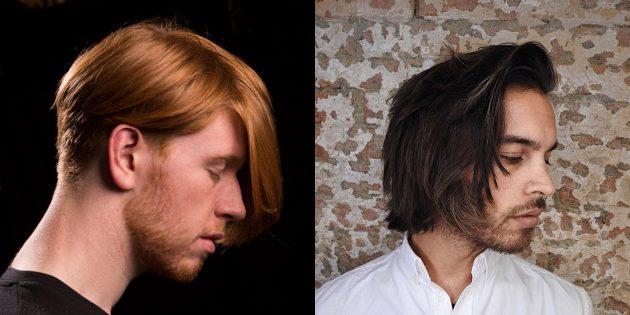 Модные мужские стрижки для обладателей длинных волос: Креативная стрижка с очень длинной чёлкой