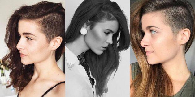Женские стрижки на длинные волосы с выбритым виском