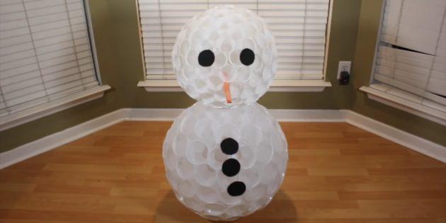 как сделать снеговика: добавьте глаза, нос и пуговицы