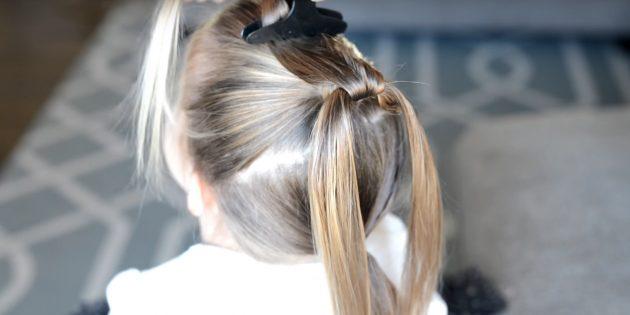причёски для девочек на новый год: разделите прядки и откиньте одну наверх