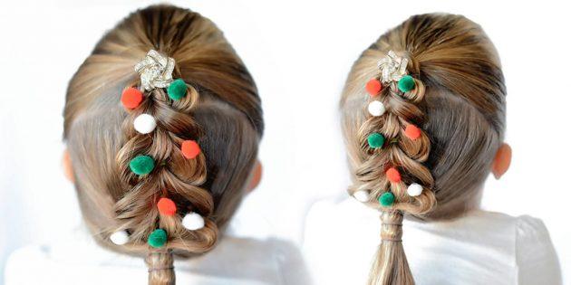 причёски для девочек на новый год: «ёлочка» из косы без плетения