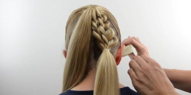 новогодние причёски для девочек: соедините косы с распущенными волосами