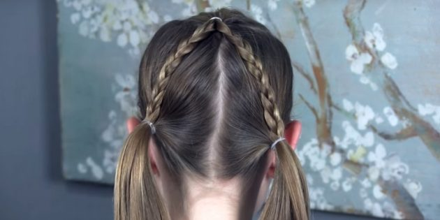причёски для девочек на новый год: повторите с другой стороны
