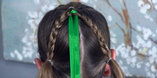 причёски для девочек на новый год: вставьте ленту