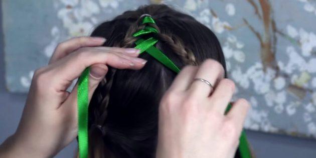 причёски для девочек на новый год: начните вплетать ленту в косы