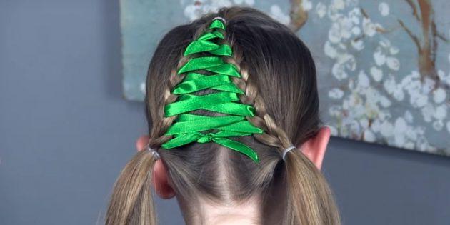 причёски для девочек на новый год: вплетите всю ленту