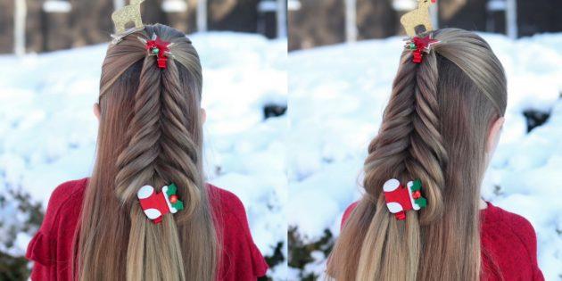 причёски для девочек на новый год: «ёлочка» из рыбьего хвоста