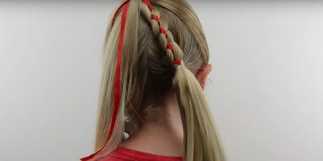 новогодние причёски для девочек: соедините косу с распущенными волосами
