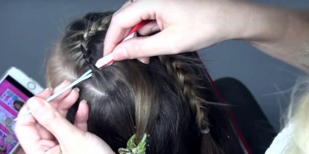 новогодние причёски для девочек: вставьте ленты