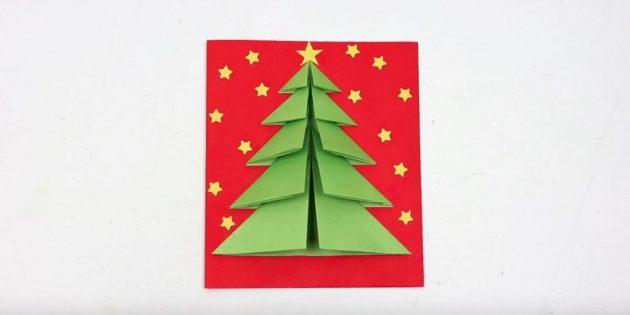 Новогодняя открытка с объёмной ёлкой на обложке