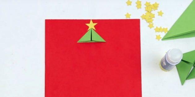 новогодние открытки своими руками: приклейте одну деталь и звезду