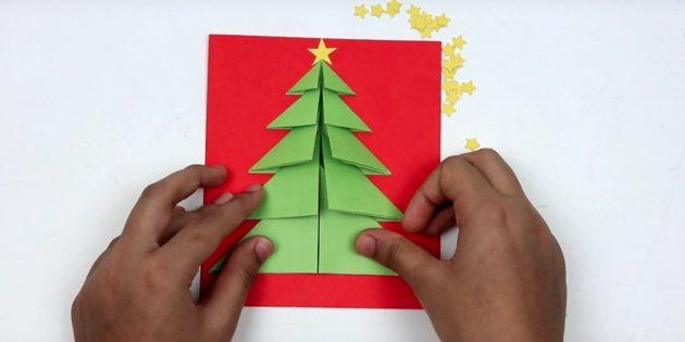 новогодние открытки своими руками: завершите ёлочку