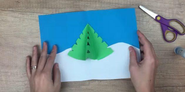 новогодние открытки своими руками: приклейте ёлочку