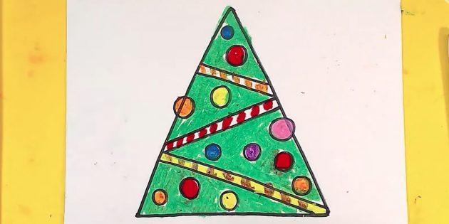 Как нарисовать треугольную ёлку карандашом или фломастером