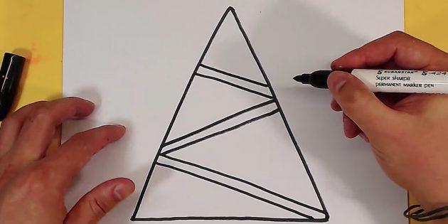 как нарисовать ёлку: добавьте третью гирлянду