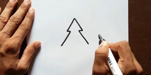 как нарисовать ёлку: добавьте второй ярус