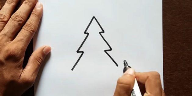 как нарисовать ёлку: добавьте третий ярус