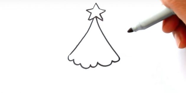 как нарисовать ёлку: соедините линии