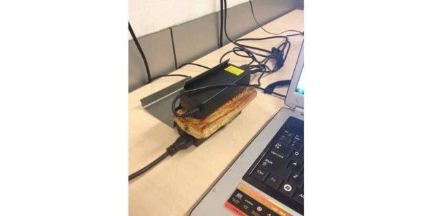 смешные лайфхаки: разогрев сэндвича