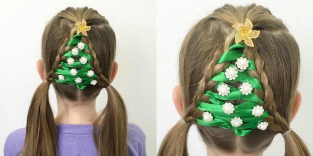 причёски для девочек на новый год: «ёлочка» из кос и лент