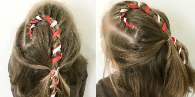 новогодние причёски для девочек: «карамельная трость» из косы